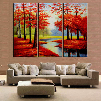 3 Pieces Oil Painting Red Tree Posters and Prints Cuadros Decoration Wall Art Canvas Picture for Living Room Home Decor No Frame