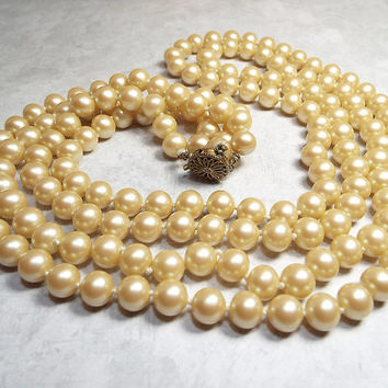 29 Inch Long Double Strand Vintage Golden Off White Imitation Pearl Necklace with Sterling Filigree Box Clasp Elegant Formal Womens Gift