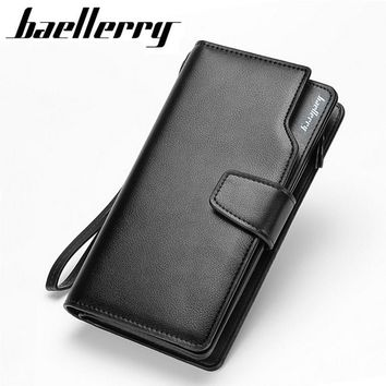 2017 New men wallets Casual wallet men purse Clutch bag Brand leather wallet long design men bag gift for men