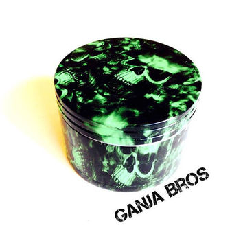 Herb Grinder, Green Skull, Custom Pattern, medical marijuana, metal, weed