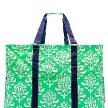 Utility Tote Extra Large - Damask Bloom Print - 3 Color Choices