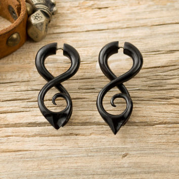 Fake Gauge Earrings Black Horn Earring Tribal Double Infinity Spiral Earrings - Gauges Horn - FG058 H ALL
