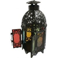 24cm Moroccan Black Lantern with Coloured Panels