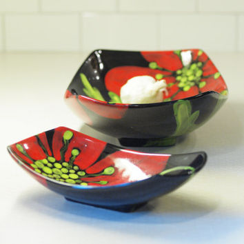 Floral Serving Dishes -Red Poppy Lg & Sm Scooped Bowls, Set of 2 -  Family Style Serving Home Decor August Birthday Gifts  RP-296, RP-295