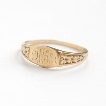 Antique Art Deco Monogrammed 10k Yellow Gold Ring - 1920s 1930s Flower Shoulders Size 6 1/2 Initial Fine Signet Jewelry J.R. Wood & Sons