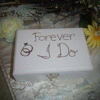 Distressed Wedding Ring Bearer Rustic Box Painted Forever I Do So Chic
