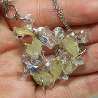 Puzzle pendants 3 piece set Yellow Hydrangea and blue cone flower Resin jewelry