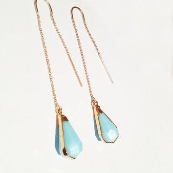 Light Blue Opal 24kt Gold Earring Threads