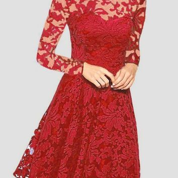 Red Patchwork Lace Round Neck Long Sleeve Prom Evening Party Midi Dress