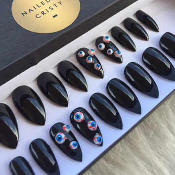 3D Eyeballs on Black Press On Nails | Any Shape & Size | Halloween Fake Glue On Nails | Acrylic Nail Art Design