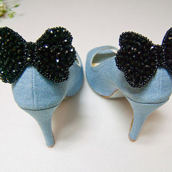 Black Crystal Beaded Butterfly Bow Shoe Clips