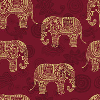 Paisley Elephants Removable Wallpaper