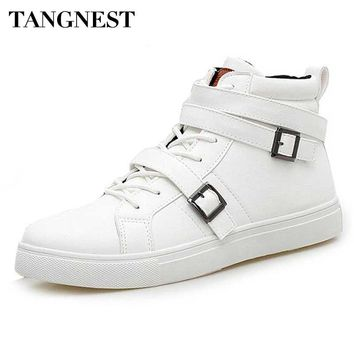 Tangnest White Men's Vulcanize Shoes 2017 Pu Leather Men High Top Shoes Man Buckle Strap Boots Casual Lace Up Shoes Man XMR2196