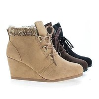 Poppet Brown By Soda, Round Toe Lace Up Knitted Ankle Collar Wedge Booties