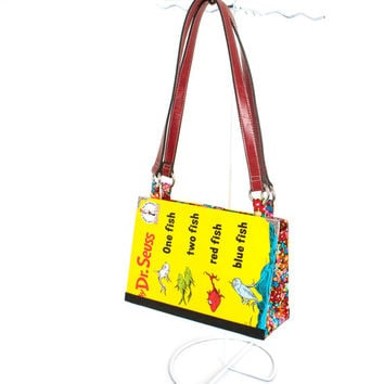 Dr. Seuss Bookpurse - One Fish, Two Fish, Red Fish, Blue Fish purse made from the book - Great gift for kid, teen, or adult