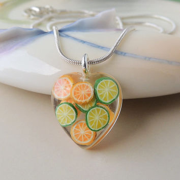 Citrus Fruit Pendant, Resin Jewelry, Fruit Jewelry, Food, Quirky, Kitsch