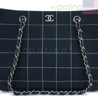 Chanel Navy Blue-Black Contrast Stitch Quilted Shopper Tote Bag 62554