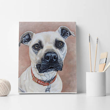 Custom Dog portrait Pet portrait Dog Painting Oil painting on stretched canvas Dog lovers gift Dog wall decor Birthday gift Dog painting