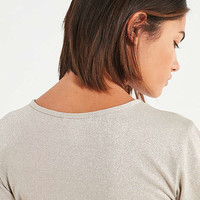 UO Emma Shimmer Lettuce Edge Tee   Urban Outfitters