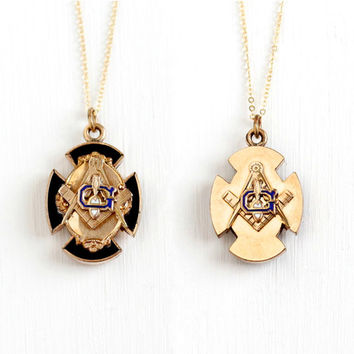 Antique 10k Rose Gold Filled Double Sided Masonic Pendant Necklace - Victorian Black Enamel Mason Maltese Cross Fraternal Fob Charm Jewelry