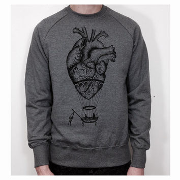 anatomical heart / hot air balloon sweatshirt for men. Screen print on high quality sweatshirt for him. Handmade vintage style illustration