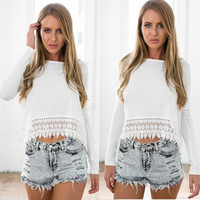 Lace Splicing T-shirt Blouse Tops - White
