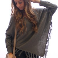 Long Sleeve Poncho Sweater- Grey at Beyond Trends : Women's Fashion Clothing & Junior Trendy Clothing & Accessories