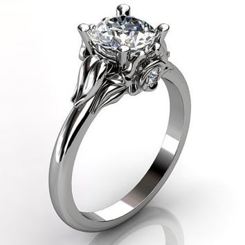 14k white gold diamond unusual unique floral engagement ring, bridal ring, wedding ring ER-1051-1