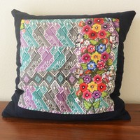 Huipil Pillow Cover Floral Birds