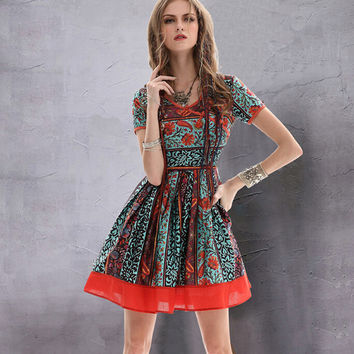 Luxe Vintage Floral Mini Flare Short Sleeve Skater Dress