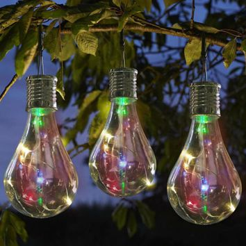 1pc Waterproof  Hanging Lanterns multicolour Solar Rotatable Outdoor Garden Camping Hanging LED Light Lamp Bulb