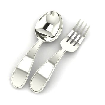 Sterling Silver Beaded Baby Spoon & Fork Set by Krysaliis