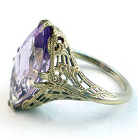 14K Antique Art Deco 12ct Lavender Amethyst by laurenrosedesign