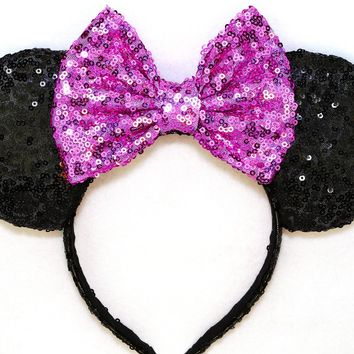 Black Sequin Ears and Orchid Bow