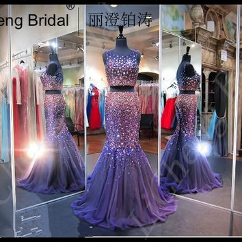 2017 New  Fashion   Navy Multi Purple  Two Piece Floral Prom Dress   sexy  billingbilling  out off the shoulder mermaid