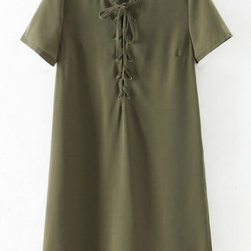 Green Short Sleeve Lace Up Dress