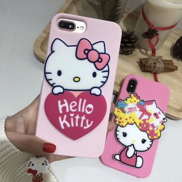 Cartoon Mirror case For iPhone X 8 7 6 6s plus 3D hello kitty Pig silicon cover For iphone 10 cases soft pink kids fundas + rope
