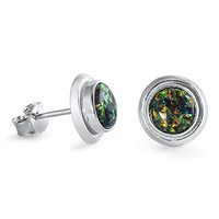 Sterling Silver CZ Simulated Diamond and Simulated Black Opal 9MM Bezel Round Earrings