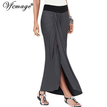 Vfemage Womens Summer Elegant Vintage Ruched Draped Asymmetric High Waist Slit Casual Party Beach Fitted Maxi Long Skirt 6193