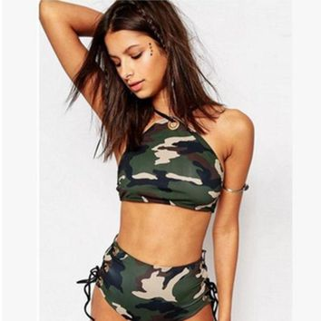 DCCKVQ8 Fashion Camouflage Print High Waist Hollow Bandage Bikini Set Swimsuit Swimwear