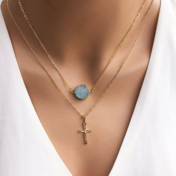 Gold Plated Druzy Stone & Cross Pendant Layered Necklace
