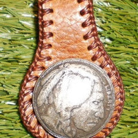Custom made to order tan brown leather key ring by g2poriginals