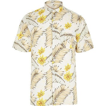 River Island MensWhite Hawaiian print short sleeve shirt