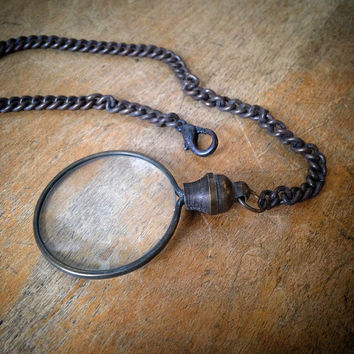 1 - SMALL Antique Bronze Monocle Magnifying Glass Pendant Charm & Chain Vintage Style Jewelry Supplies