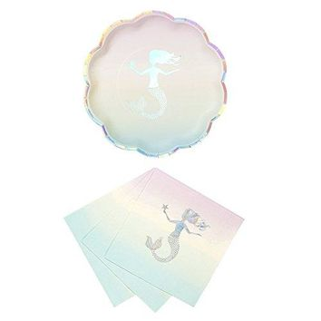 Talking Tables We Heart Mermaids Party Bundle For Theme Birthdays Bridal Showers Parties | Paper Plates amp Luncheon Napkins
