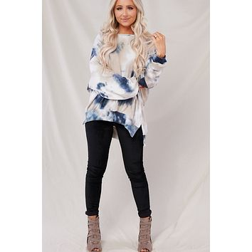 Cloudy Nights Top (Taupe/Navy)