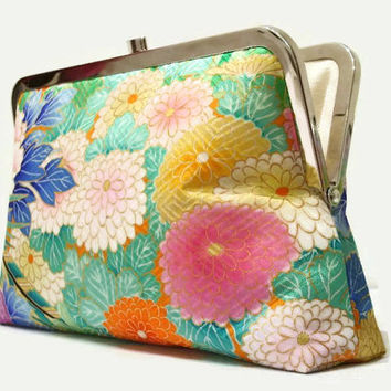 "Green Silk Clutch Purse With A Peony And Chrysanthemum Design, Floral Clutch Purse, Summer Clutch Bag Made From Japanese Silk 9"" x 5.5"""