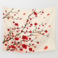 Oriental plum blossom in spring Wall Tapestry by Ori Artiste