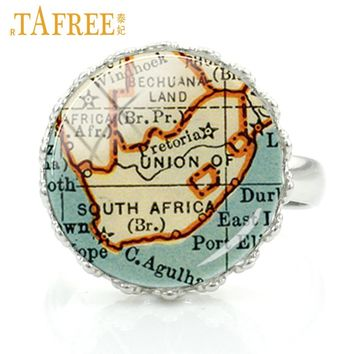 TAFREE A Part South Africa Map Rings a lot of animal parks beautiful Occult special a united undivided wanted jewelry H564
