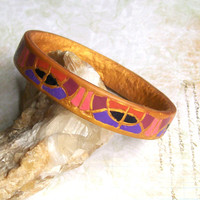 Art deco bangle bracelet thin polymer clay bracelet in pink and purple shades